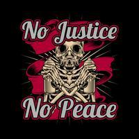 crânio segurando grafite de tinta spray sem justiça sem paz .vector desenho da mão, projetos de camisa, motociclista, disk jockey, cavalheiro, barbeiro e muitos outros.isolado e fácil de editar. Ilustração vetorial - vetor