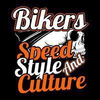 crânio bikers.speed, estilo e desenho da mão de culture.vector, projetos de camisa, motociclista, disk jockey, cavalheiro, barbeiro e muitos outros.isolado e fácil de editar. Ilustração vetorial - vetor