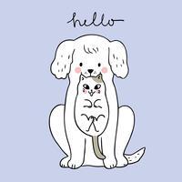 Vetor bonito do cão e do gato dos desenhos animados.