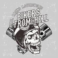 crânio de estilo grunge usando capacete retrô e vetor de desenho de mão de pistão