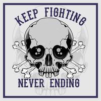 osso transversal de crânio continuar lutando nunca terminando o vetor de desenho de mão