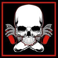 Desenho da mão dos grafittis da pintura do crânio do vetor, projetos da camisa, motociclista, disco-jóquei, cavalheiro, barbeiro e muito outro. isolado e fácil de editar. Ilustração vetorial - vetor