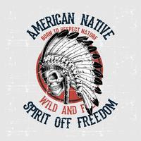 vetor de desenho de mão nativo americano caveira de estilo grunge