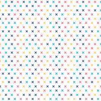 Teste padrão transversal abstrato colorido no fundo branco. Memphis geométrica mais sinais. vetor