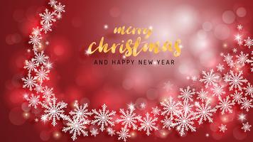 Feliz Natal e feliz ano novo cartão em papel cortado estilo de fundo. Ilustração vetorial Natal celebração flocos de neve em fundo vermelho para banner, panfleto, cartaz, papel de parede, modelo.