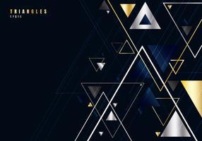 Os triângulos abstratos do ouro e da prata dão forma e alinham-se no fundo preto para o estilo do luxo do negócio. Elemento de design geométrico para elegante com espaço de cópia.