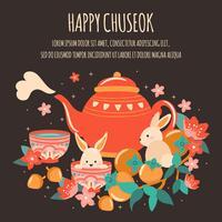 Festival de Outono Mid com bule bonito, bolo de lua, lanterna, bolota, coelho, bambu, Cherry Bloom, Damasco, Chuseok / Hangawi Festival. Dia de ação de Graças, vetor - ilustração