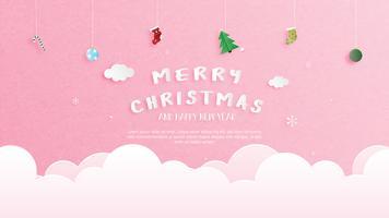 Feliz Natal e feliz ano novo cartão em papel cortado estilo. Ilustração vetorial Fundo de celebração de Natal. Banner, panfleto, cartaz, papel de parede, modelo. vetor