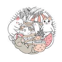 Vetor bonito do verão e do gato dos desenhos animados. Quadro de círculo Doodle.