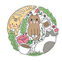 Gato bonito dos desenhos animados e vetor do café. Quadro de círculo Doodle.