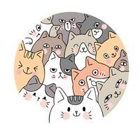 Vetor bonito dos gatos da cara dos desenhos animados. Quadro de círculo Doodle.