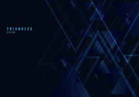 Forma e linhas azuis abstratas dos triângulos no fundo preto para o estilo da tecnologia do negócio. Elemento de design geométrico para elegante com espaço de cópia.