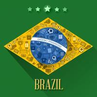 símbolo de bandeiras de futebol do Brasil vetor