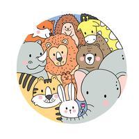 Vetor bonito dos animais dos animais selvagens da cara dos desenhos animados. Quadro de círculo Doodle.