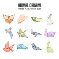 Conjunto de origami animal colorido e papel barco e avião de papel vetor