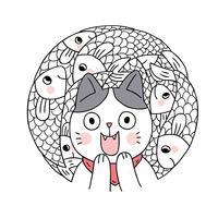 Vetor bonito do gato e dos peixes dos desenhos animados. Quadro de círculo Doodle.