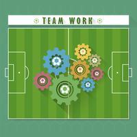 Resumo trabalho em equipe de futebol vetor