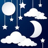 papel de lua e nuvem