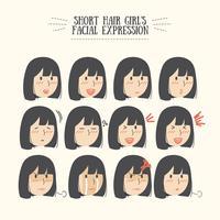 Conjunto de expressões faciais de garota de cabelo preto bonito Kawaii
