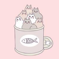 Os gatos bonitos e o alimento dos desenhos animados podem vector. vetor