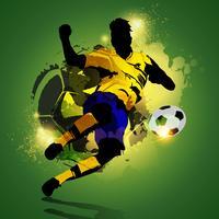 Tiro de jogador de futebol colorido vetor