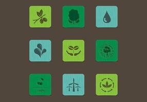 Ícones Eco Nature em conjunto de vetores de cores da madeira