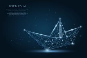 Malha de poligonal wireframe Origami barco no céu azul escuro com linhas de pontos e estrelas. Ilustração de navio de papel de vetor