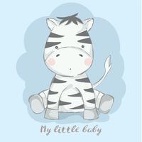 bebê fofo zebra cartoon mão desenhada style.vector ilustração