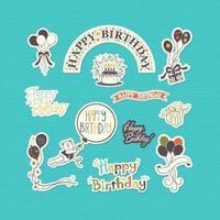Vetor do conjunto de adesivos feliz aniversário