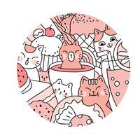 Gato bonito dos desenhos animados e vetor doce. Quadro de círculo Doodle.