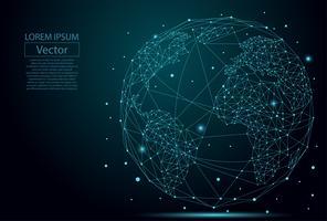 Imagem abstrata de um planeta Terra, consistindo de pontos, linhas e formas. Conexão de rede global. Ponto do mapa do mundo e conceito da composição da linha do negócio global. Ilustração vetorial