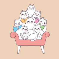 Gatos bonitos dos desenhos animados que leem no vetor do sofá.