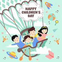 Feliz dia das crianças ilustração. Mundo da imaginação com crianças no balão de ar quente vintage, foguete, arco-íris, lua, planetas, idéia e balões flutuando acima de nuvens - ilustração vetorial vetor