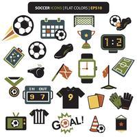 Cores de ícones de futebol vetor