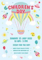 Ilustração do vetor do molde do cartaz do dia das crianças. Mundo da imaginação com balão de ar quente vintage, foguete, arco-íris, lua, planetas, idéia e balões flutuando acima de nuvens - ilustração vetorial