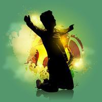 jogador de futebol objetivo fundo colorido