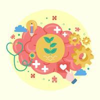 Cartaz do dia da saúde mental do mundo. Crescimento Mental. Limpe sua mente. Pensamento positivo. Vetor - Ilustração
