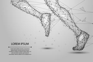 Poligonais abstratos executando as pernas de linhas, triângulos e partículas. Ilustração em vetor baixo poli wireframe.