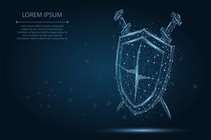 Escudo poligonal abstrato e espadas. Ilustração em vetor baixo poli wireframe. Proteja e proteja a linha e o ponto do mash do conceito digital.