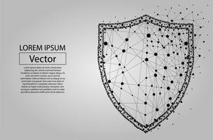 Escudo poligonal abstrata. Ilustração em vetor baixo poli wireframe. Proteja e proteja a linha e o ponto do mash do conceito digital.