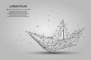 Engranzamento de wireframe poligonal Barco de origami de linhas de pontos e estrelas. Ilustração de navio de papel de vetor