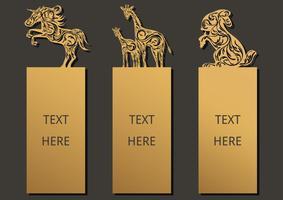Bookmark conjunto de animais vetor
