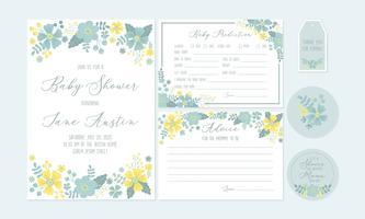 Moldes imprimíveis do convite da festa do bebé com desejos florais e do bebê para recém-nascido. Vetor - Ilustração
