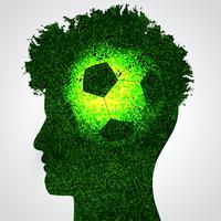 cérebro de futebol na cabeça humana