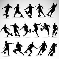 Silhuetas de ação de futebol vetor