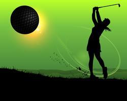 Jogador de golfe de mulher de silhueta vetor