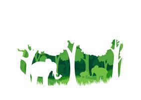 Estilo de arte de papel de elefante vetor