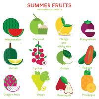 Elementos de frutas de verão
