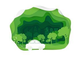 Estilo de arte de papel de carro ecológico