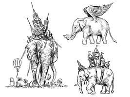 Mão desenhada linha elefante conjunto abstrato